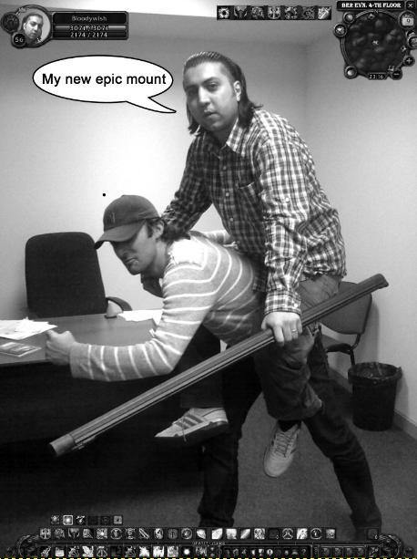 Ein Arbeitskollege (Moushegh) mit seinem neuen Epicmount.
